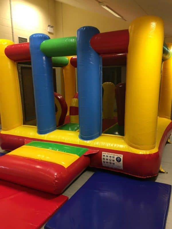 Jump and Play Low Height Bouncy Castle e1511260505902 Rainbow Bouncy Castle