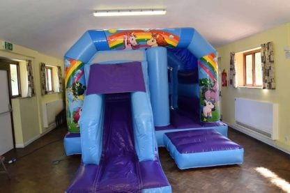 low height unicorn bouncy castle with front slide