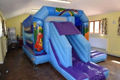 low height dinosaur bouncy castle with slide